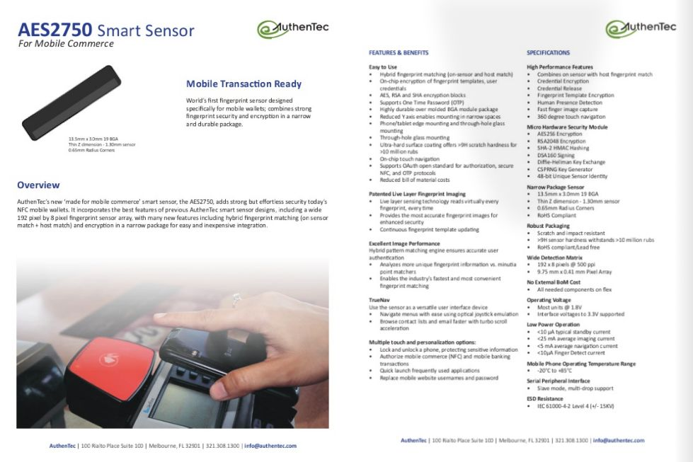 Biometrics: fingerprint sensor products